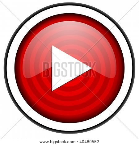 play red glossy icon isolated on white background