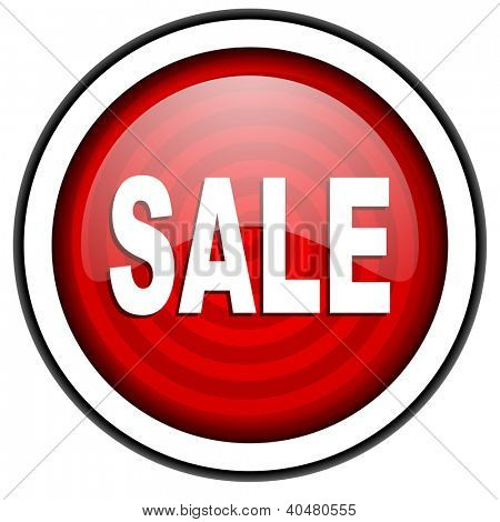 sale red glossy icon isolated on white background