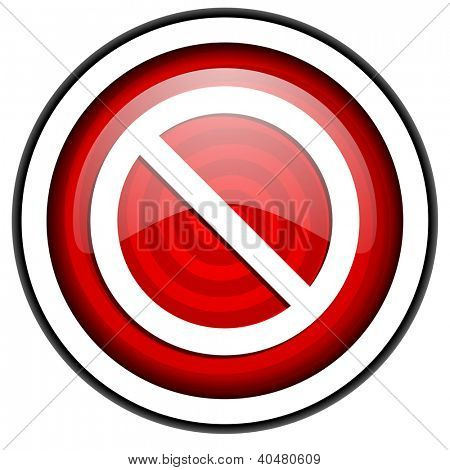 access denied red glossy icon isolated on white background