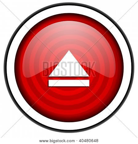 eject red glossy icon isolated on white background