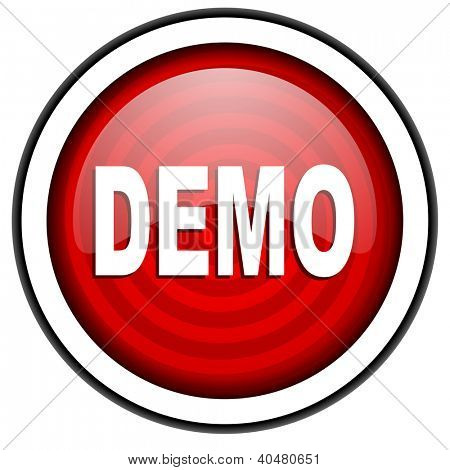 demo red glossy icon isolated on white background