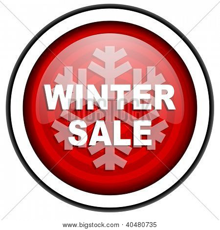winter sale red glossy icon isolated on white background