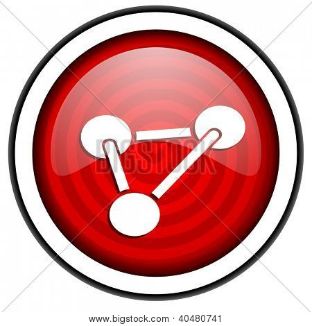 chemistry red glossy icon isolated on white background