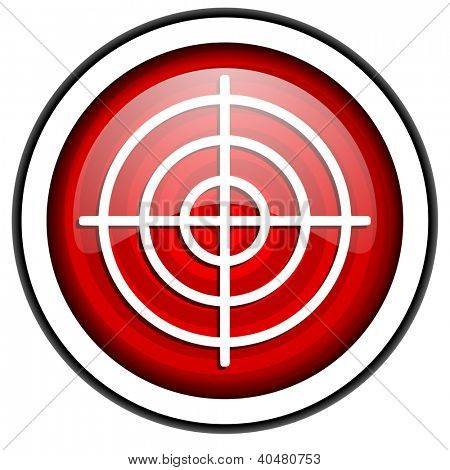 target red glossy icon isolated on white background