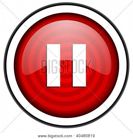 pause red glossy icon isolated on white background