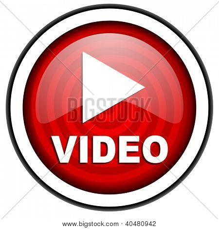 video red glossy icon isolated on white background