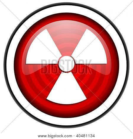 radiation red glossy icon isolated on white background