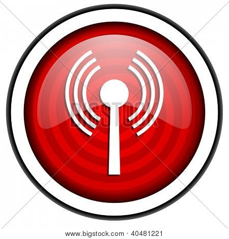 wifi red glossy icon isolated on white background