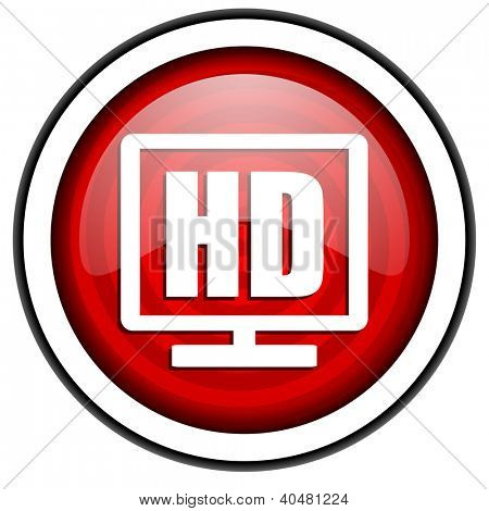 hd display red glossy icon isolated on white background