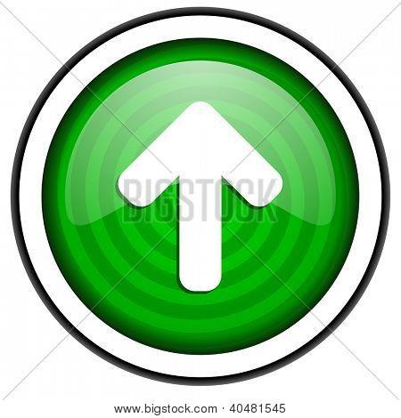 Pfeil nach oben grün glossy Icon isoliert auf weißem Hintergrund