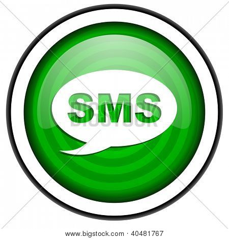 sms green glossy icon isolated on white background