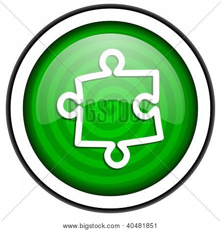 puzzle green glossy icon isolated on white background