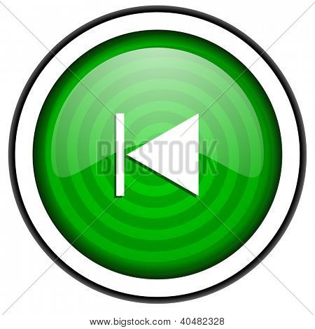 prev green glossy icon isolated on white background