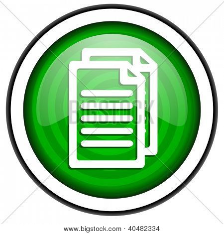 document green glossy icon isolated on white background