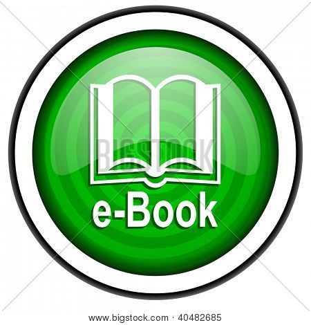 e-book green glossy icon isolated on white background