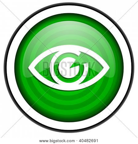 eye green glossy icon isolated on white background