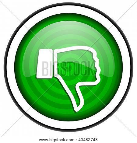 pulgar hacia abajo verde brillante icono aislado sobre fondo blanco