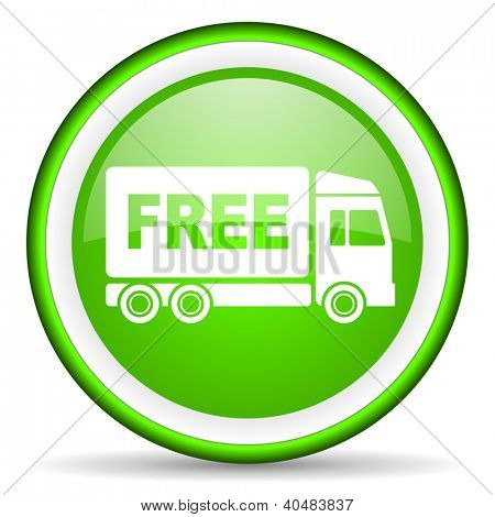 free delivery green glossy icon on white background