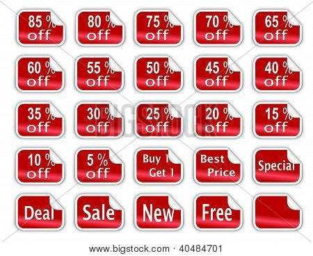 Red Glossy Discount Stickers