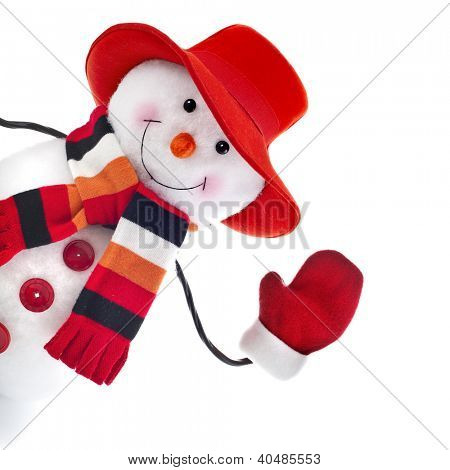 happy snowman with red hat isolated on white background