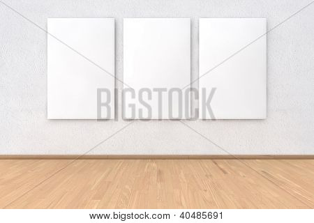 Wall with three empty picture frames in 3D