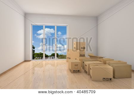Empty office room with moving boxes during relocation