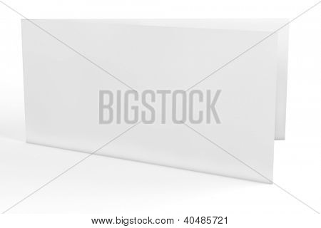 Empty white horizontal greeting card in 3D