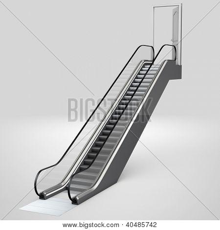 Escalator in 3D leading up to an open door
