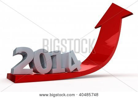 Red 3D arrow with year 2014 pointing up