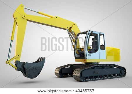Big yellow industry bucket dredger in 3D