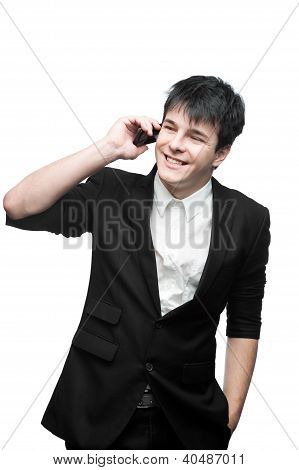 happy smiling businessman talking on cell phone