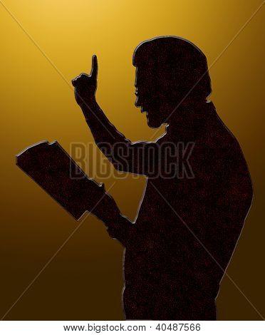 Preacher Teaching From Bible Golden Heaven