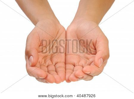 Cupped hands of young woman - cut out
