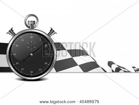 detailed illustration of a racing flag with stop watch