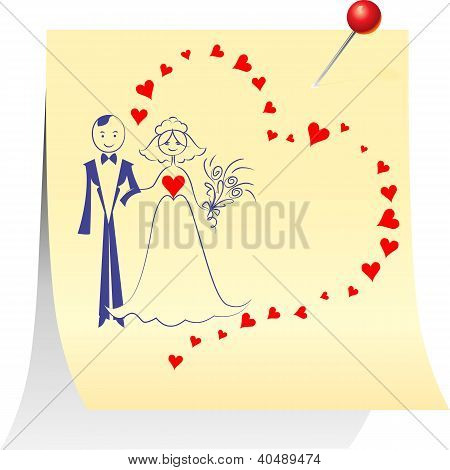 Vector Couple In Love: The Bride And Groom On A Sheet Pinned Clerical Pin