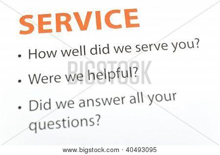 Service feedback