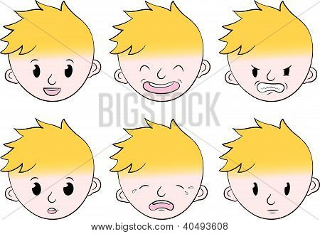 Little boy facial emotions set