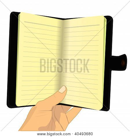 Hand Holding Blank Notebook.eps