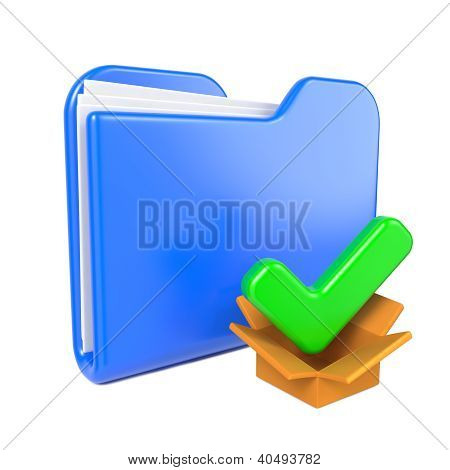 Blue Folder with Green Check Mark.