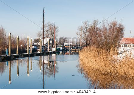 Old Dutch Marina In Winter