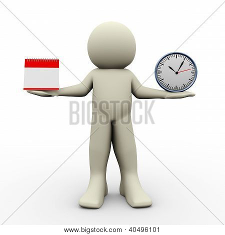 Person With Calender And Clock