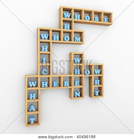 Question Words Crossword Shelf