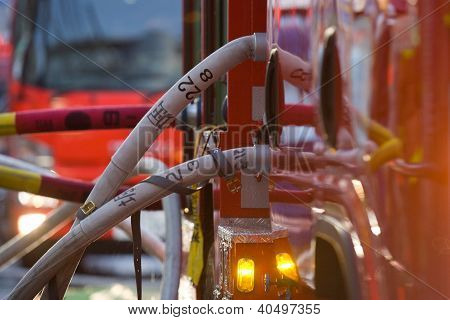 Hoses Attached To Firetruck