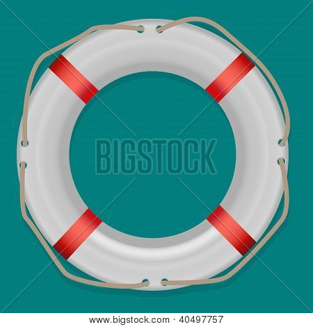 Life Buoy, Isolated On White Background, Vector Illustration