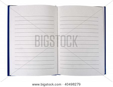 Open Book - lined and blank, isolated over white