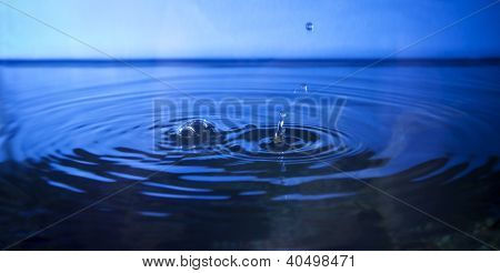 drop water in deep blue background