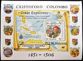 SAINT VINCENT - CIRCA 1986: a stamp was printed in Saint Vincent shows Christopher Columbus and map