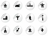 Stickers with landmarks and cultures icons poster