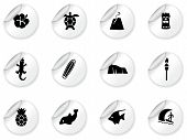 stock photo of pacific islander ethnicity  - Stickers with Hawaii icons  - JPG