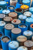stock photo of chemical weapon  - Photo of a Chemical waste dump with a lot of barrels - JPG